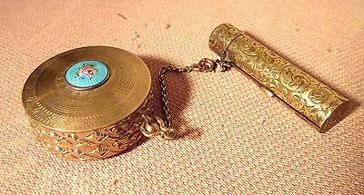 antique 1800's engraved yellow gold fill enamel French compact lipstick box case