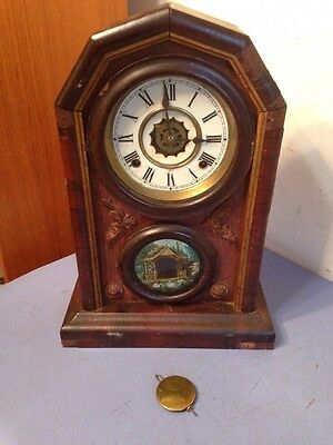 Unusual Antique Waterbury Gothic Octagon Or Cottage Parlor Mantle Clock