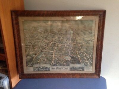 Antique Birds Eye View Map Of New Britain CT 1875