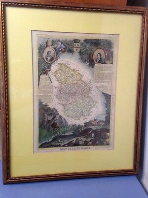 Beautiful Antique Hand Colored Map Of Marne France Art Atlas National Illustre