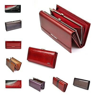 Ladies Genuine Leather Purse Clutch Long Wallet Women Coins Card Holder Patent