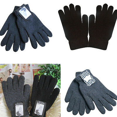 Men Knitted Gloves Thicken Thermal Warm Winter Wool Knitted Gloves Solid Color