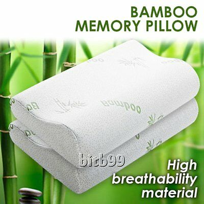 2x Pack Luxury Bamboo Memory Foam Fabric Fibre Cover Contour Pillow 50 x 30cm IB