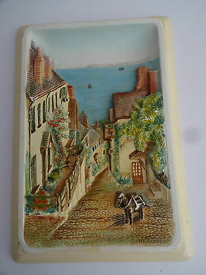 """Vintage Chalk Wall Plaque -Bossons-""""Down a Long Clovelly"""" 1950-original label"""
