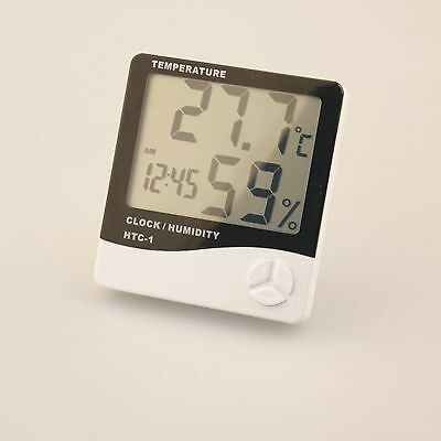 Digital LCD Thermometer Hygrometer Gauge Humidity Weather Meter and Time Showing