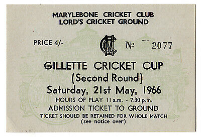 Gillette Cricket Cup Second Round Ticket Middlesex v Lancashire 1966 Lords