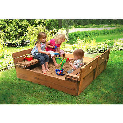 Badger Basket Covered Convertible Cedar Sandbox with 2 Bench Seats