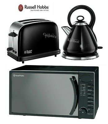 Russell Hobbs Pyramid Kettle and 2-Slot Toaster & Digital Black Microwave New