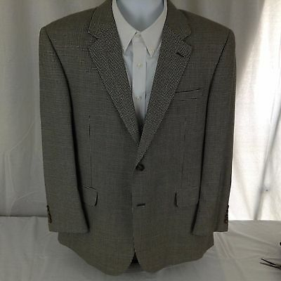 Jos A Bank Mens 2 Button Houndstooth Silk & Wool Sportcoat 46R Free Shipping sc8