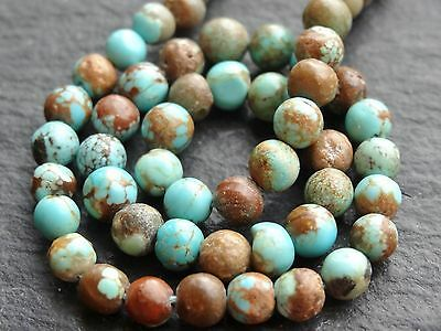 """NATURAL ROUND'ISH RUSTIC TURQUOISE, 5mm, 11"""" strand, 50 beads"""