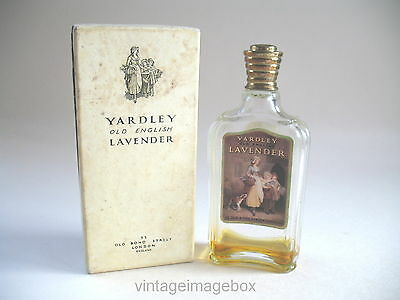 Vintage 1940s Yardley Old English Lavender perfume bottle with metal top, boxed
