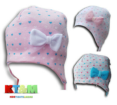 New Baby Girl Beautiful Spring/Autumn Cotton Bow Hat Cap With Strings 1-3 Months