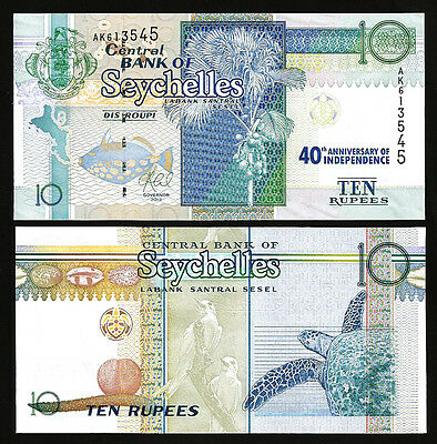 SEYCHELLES 10 RUPEES 2013 UNC COMMEMORATIVE 40th OF ANNIVERSARY INDEPENDENCE