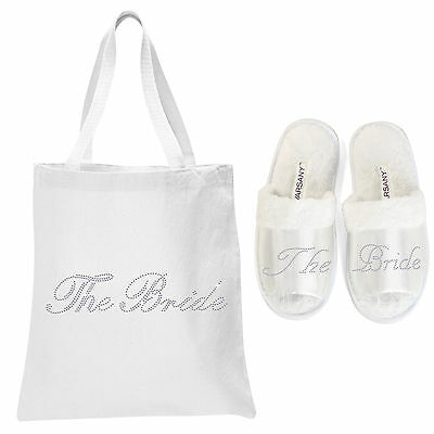 White Crystal Open Toe Spa Slippers and Tote bag wedding bride hen party (NEW)