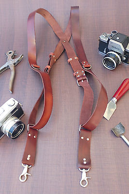 New Dual Leather Camera Harness Adjustable Strap Multicamera Photographer Brown