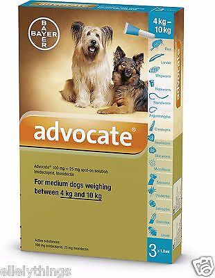 Advocate for small Dogs 4 to 10 Kg  3 Pipettes