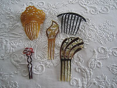 5 Antique VICTORIAN Tortoise Celluloid & Rhinestone Crystal HAIR COMBS  c1900's