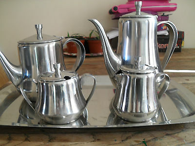 collectable Retro style stainles steel coffee / tea set and tray