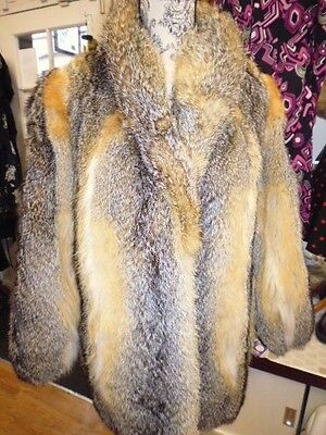 Stunning Vintage 80's Real Soft Canadian Fox Fur Coat Size Meduim Rare Markings