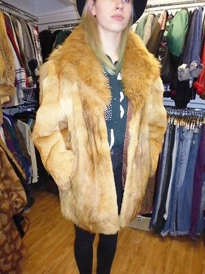 Vintage 80's Real Red Fox   Fur Coat Size 14 To 16 Sheepskin Collar
