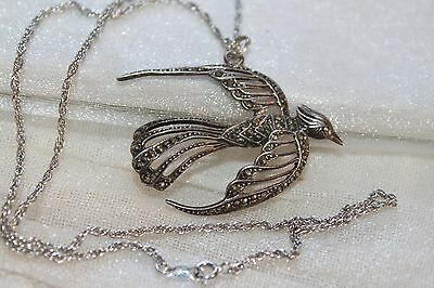 ART DECO Vintage all STERLING silver MARCASITE Bird in Flight Pendant Necklace