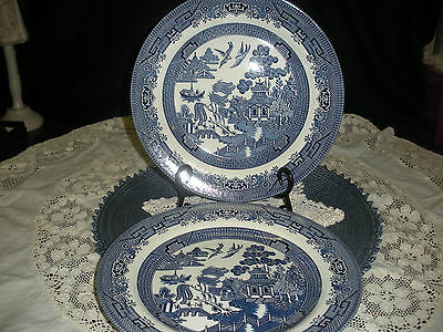 Vintage Churchill Staffordshire England Blue Willow Dinner Plates (2)