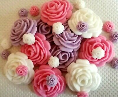 30 PINK WHITE AND LILAC ROSES Edible cake topper decoration Sugar