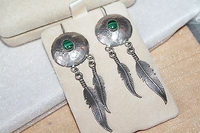 "3"" Long Vintage Native STERLING Silver MALACHITE Dangle FEATHER Wire Earrings"