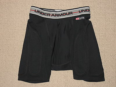 Boys Under Armour MPZ Cup Pocket Compression Padded Shorts Youth Large YLG Black