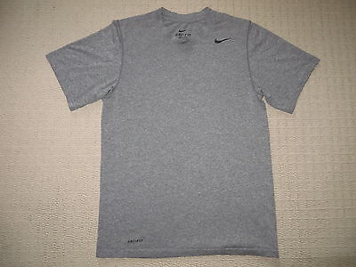 Mens Nike Dri-Fit Athletic Running Workout Short Sleeve SS Shirt S Small Gray
