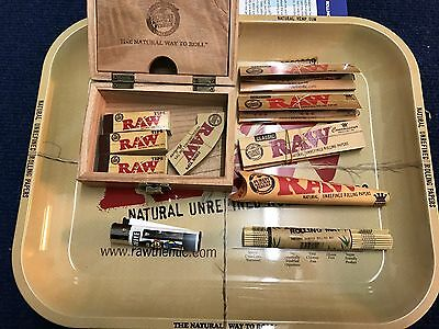 Raw Rolling Tray Gift Set- Smoking Accessories - MEDIUM Tray - RAW WOODEN BOX