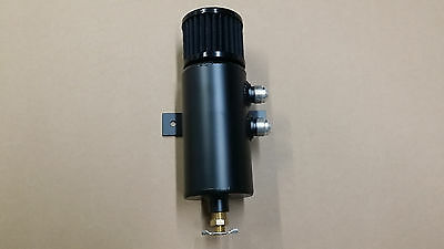 Dual right aluminum baffled oil catch can breather can w/ drain valve and filter