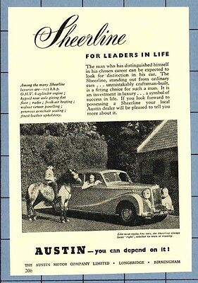 The  AUSTIN 125 SHEERLINE MOTOR CAR  (1952 Advertisement)