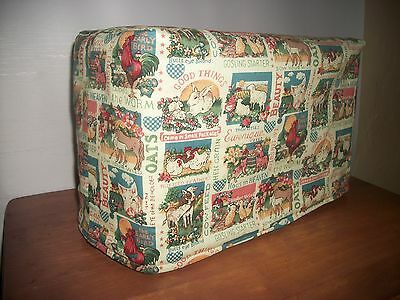 Reversible 2-Slice Toaster Cover Rooster Pig Horse reverse to Plaid Homespun
