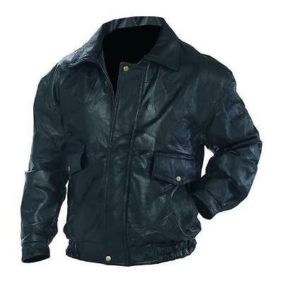 Men's Black  Leather Motorcycle, Bomber Jacket,  Real Leather NEW!