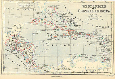 2310 West Indies (Caribbean) + Central America, historical copper engraving map