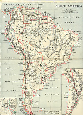 2310 South America historical copper engraving map with colored borders 1887