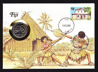Native Warrior Numisbrief 1990 Suya Fiji Oceania Stamp Cover with Coin