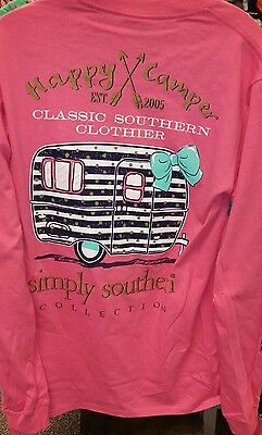 New SIMPLY SOUTHERN HAPPY CAMPER  LONG SLEEVE SHIRT L XL 2XL