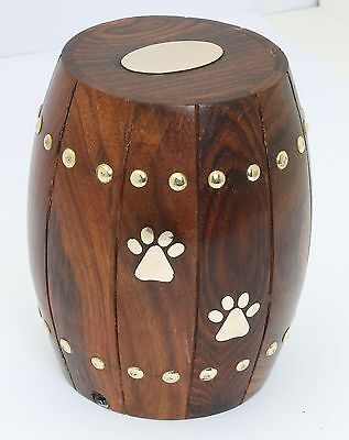 Wood Urn for Ashes Cremation Funeral Memorial HardWood Pet Dog Cat Urn Paw Print