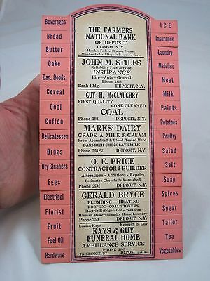Vintage Deposit New York Advertising Cardboard Grocery Store Shopping Reminder