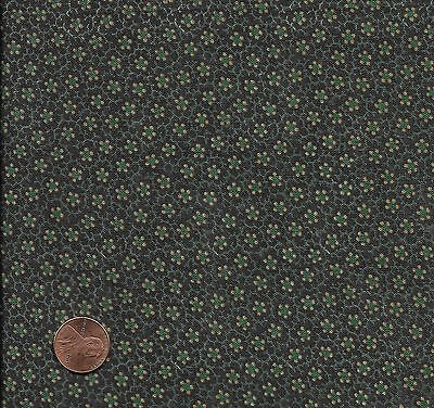 Antique 1870 Small Floral Green Fabric