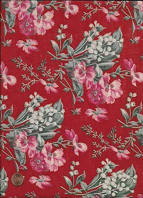 Antique 1870 Lily of the Valley Red Fabric