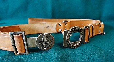 "Antique Adjustable Leather Boy Scout Belt "" National Listening Body Alert """