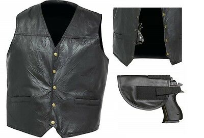 Men's Black Leather Concealed Carry Motorcycle Vest w/holster