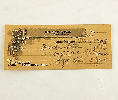 Sergeant Sgt. Alvin C. York Signed Check World War I Hero Wwi Sgt. York