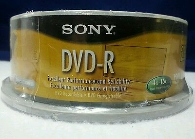 Sony DVD-R 25 pack 120 min 4.7 GB/Go DVD Recordable Blank AccuCORE New Discs