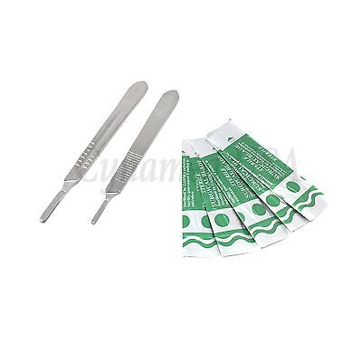 2 Assorted Scalpel Knife Handles #3 #4 +50 Surgical Carbon Steel Blades #10 #22