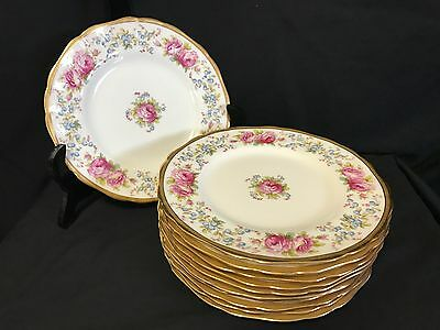 """Outstanding Set of 11 Cauldon Gold Rimmed Floral 8.3/4"""" Luncheon Plates England"""