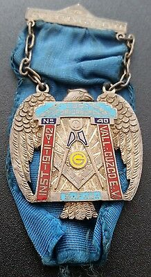 Cuzco Peru Enameled Silver Masonic Medal 1942 with Ribbon
